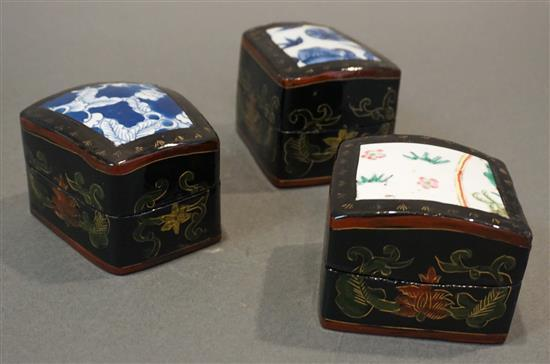 Three Chinese Pottery Shard and Lacquered Boxes