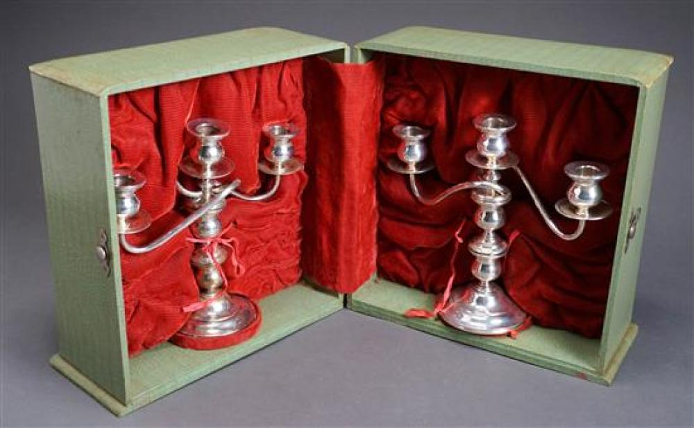 Pair of Weighted 950 Sterling Three-Light Convertible Candelabra