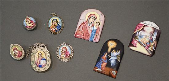 Collection with Eight Russian Enamel Miniatures and Pendants
