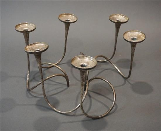 Three Weighted Sterling Silver Two Light Candelabra