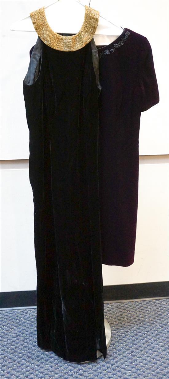 Lord and Taylor Two Piece Velvet Pant Suit, Liz Clairborne Purple Velvet Dress, and an Alex Evenings Black Velvet Dress