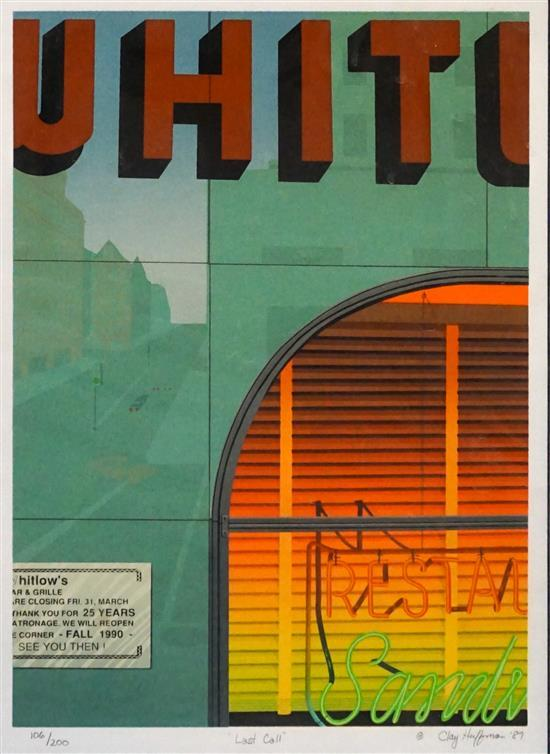 Clay Halfman (American 20th Century), Last Call, Serigraph, numbered 106/200, Frame: 24-1/4 x 18-1/4 in