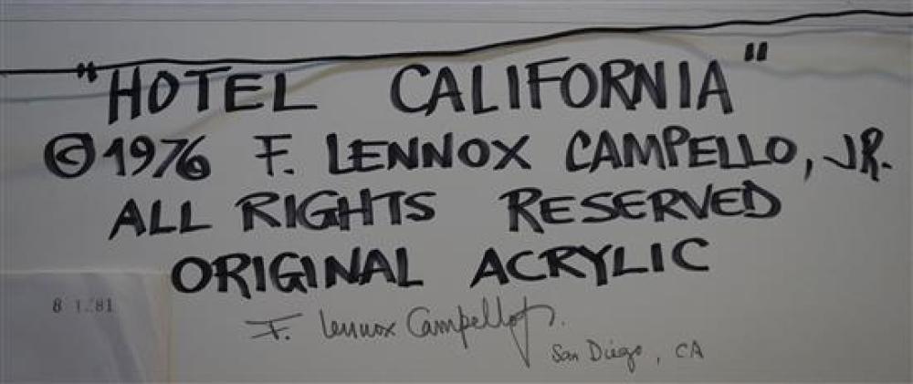 F. Lennox Campello (Cuban/American b. 1956), Hotel California, Acrylic on Canvasboard, Signed l.r. Campello '76, Frame: 21-1/4 x 25-1/