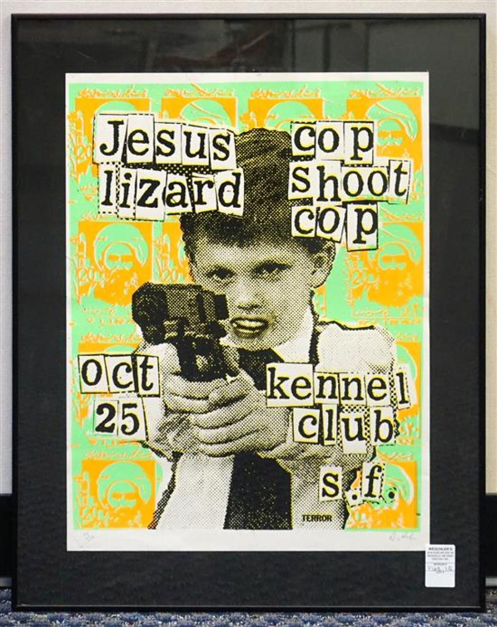 Cop Shoot Cop, Jesus Lizard, Lithographic Poster, Signed l.r., Frame: 28 x 22 in