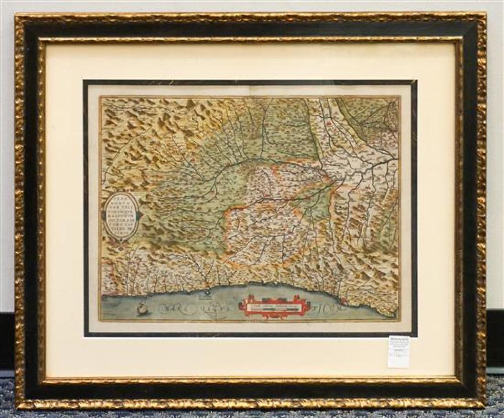 Abraham Ortelius (Belgian 1527-1598), Map of Piedmont, Later Reprint Color Engraving, Frame: 25-1/4 x 30-1/4 in