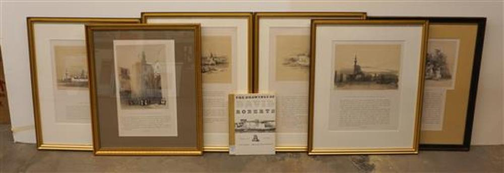 After David Roberts, Scenes in Egypt, Five Color and Tinted Lithographs with Text and a Volume of Drawings, Largest Farme: 31 x 23 in