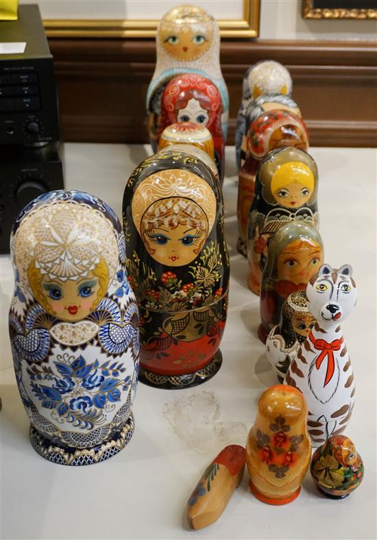 Collection of Fifteen Russian and Other Nesting Dolls, Height of Tallest: 10-3/4 in