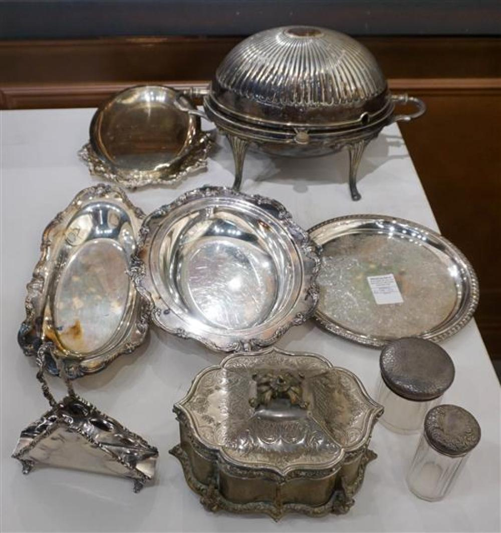 Collection with Assorted Silver Plate Articles including a Mexican Sterling Silver Napkin Holder (7.4 oz) and a Hinged Jewelry Box
