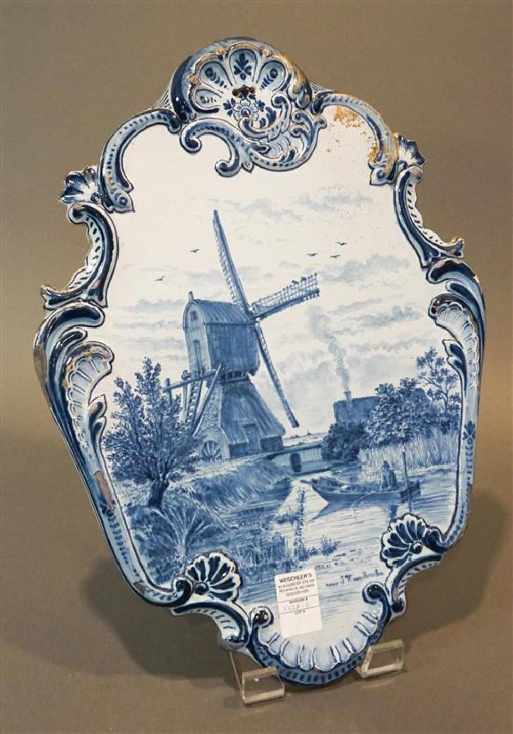 Delft Plaque of Windmill and Fisherman, Signed J.W. Van Borselen, (some losses), 22 x 16 in