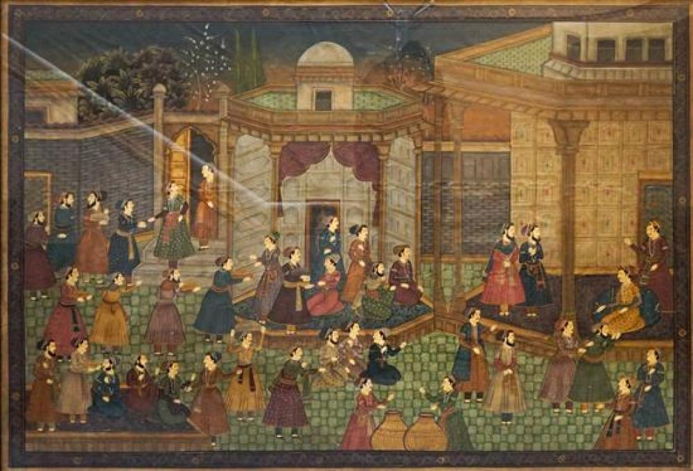 Indian School, 20th Century, Ceremonial Scene, Oil on Cloth, 51 x 74 inches