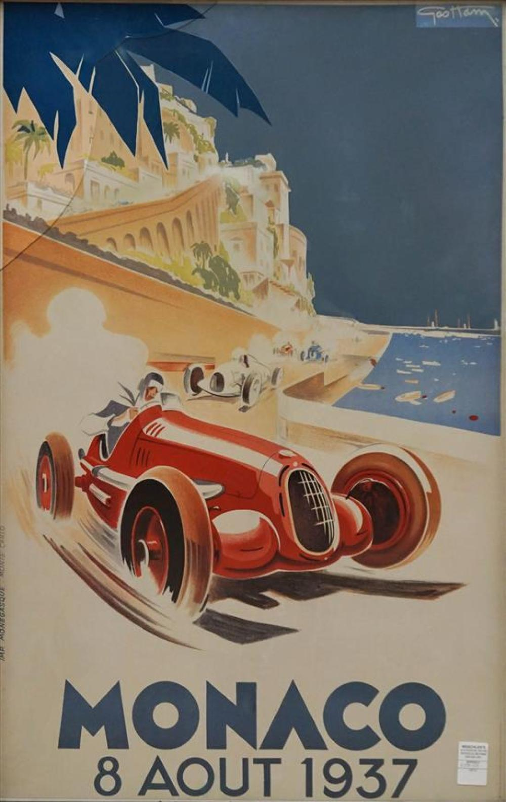 Monaco, 8 Aout 1937, Chromolithograph, Frame: 41-1/2 x 26-3/4 in (Glass Broken Upper Left)