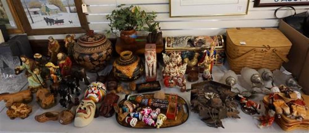 Group of Longaberger Baskets, Cuckoo Clock, Asian and other Table Articles