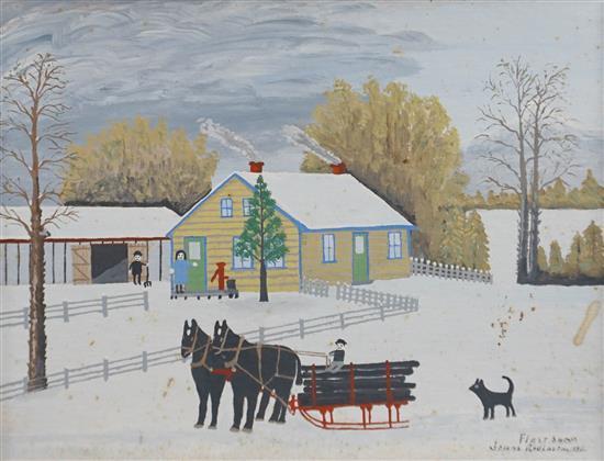 Jonas Robinson, First Snow, Oil on Board, Frame: 18-1/4 x 22-1/4 in