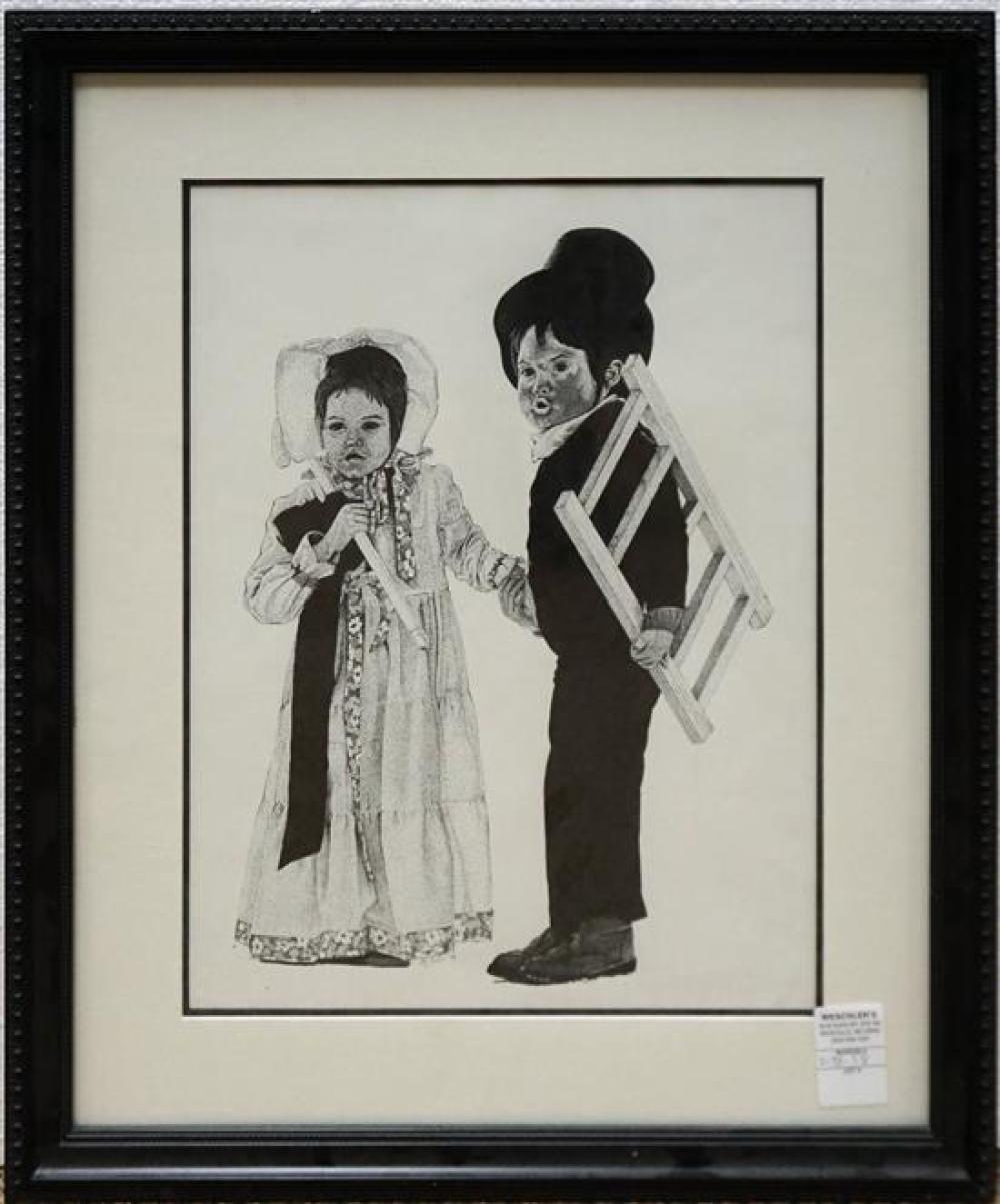 Two Children in 19th Century Attire, Ink on Paper, Frame: 23 1/2 x 19-1/2