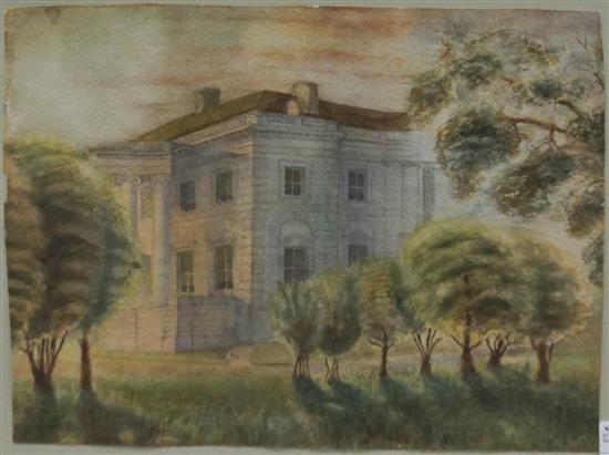 Landscape with View of Columned House, Watercolor on Paper, Frame: 19-1/4 x 23-1/4 in