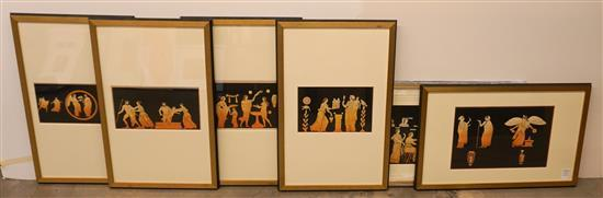 Set with Six Framed and Two Unframed Pompeian Fresco Watercolors and Drawings, Framed, Largest: 31 x 19 inches