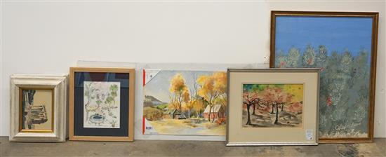Six Watercolors of Roman Ruins, Flower Garden and Landscape, Largest 21-1/4 x 26-1/2 inches