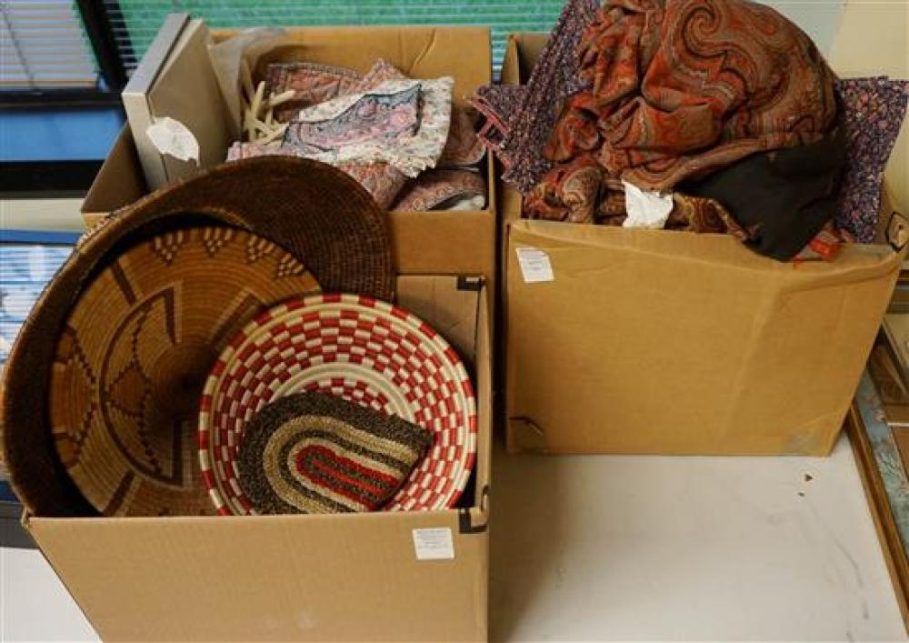 Three Boxes of Clothing and Table Linens