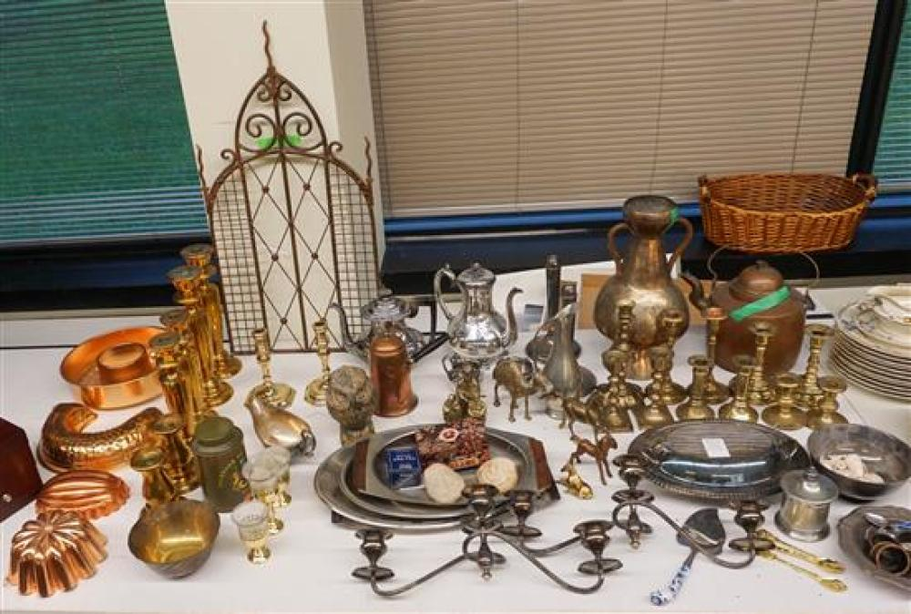 Group of Silverplate and Brass Candlesticks, Teapots, Bowls and other Table Articles