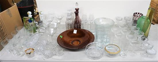 Group with Pair of Milk Glass, Pair of Amber to Clear and Two Assorted Decanters, and Group of Assorted Bar and Stem Glassware