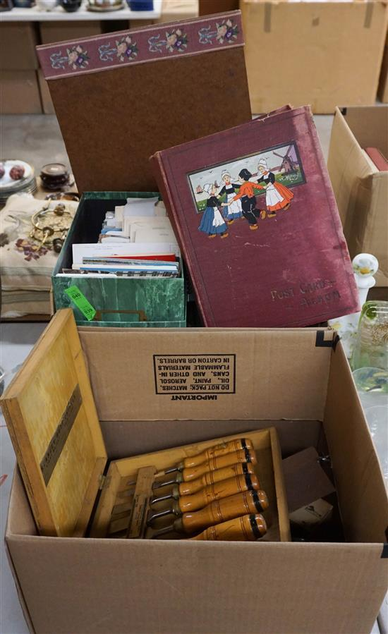 Collection of Postcards and Box of Hand Tools