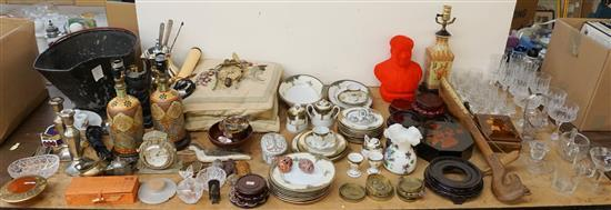 Collection with Asian Ceramics, Tole Decorated Coal Scuttle, Glassware and Miscellaneous Articles