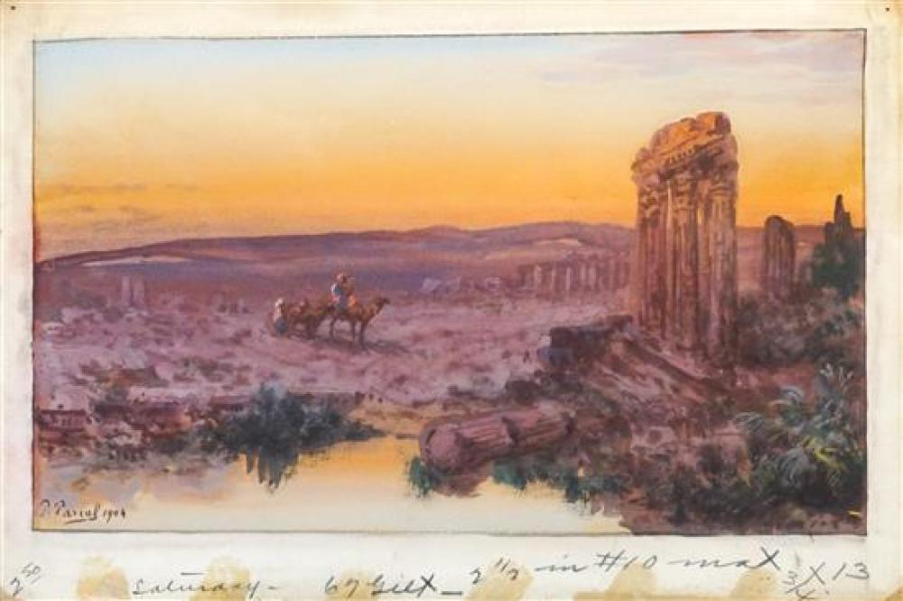 Paul Pascal (French 1832-1903), Egyptian Landscape, Watercolor on Paper, Frame: 14 x 19-1/2 in