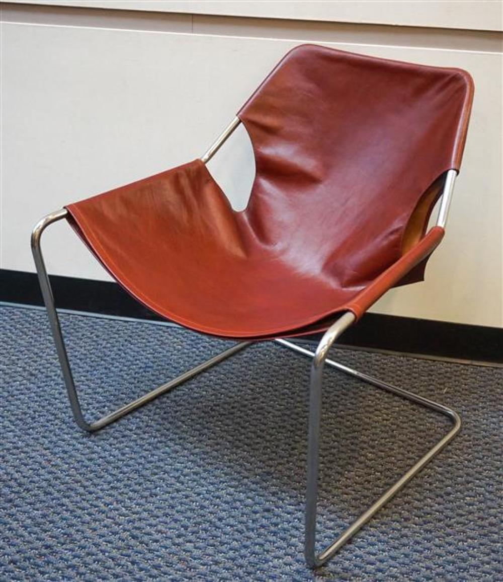 Modern Tubular Chrome Plate Brown Leather Sling Chair