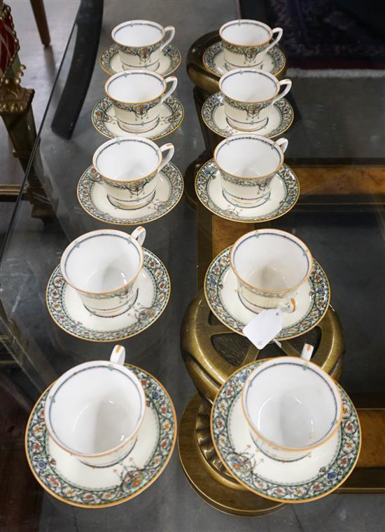 Set of Ten Royal Worcester Chantilly Pattern Porcelain Demitasse Cups and Saucers