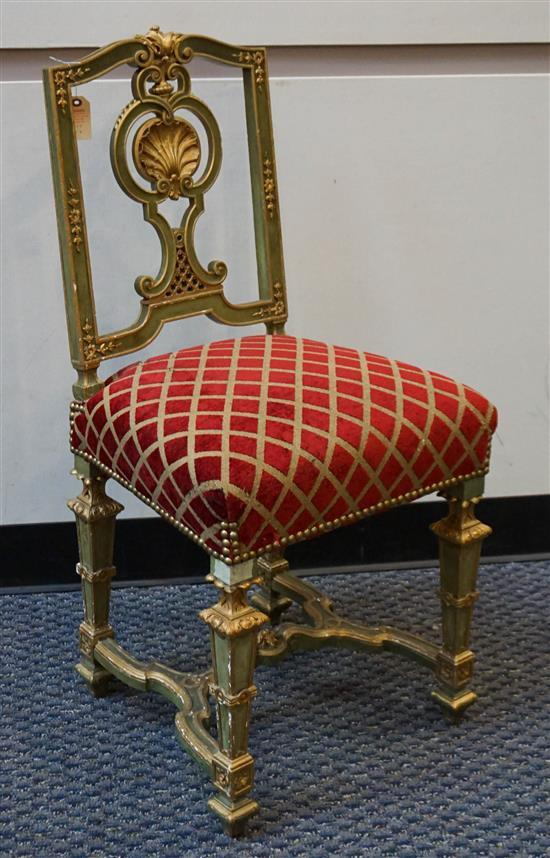 Continental Style Gilt Green Painted Fruitwood Side Chair