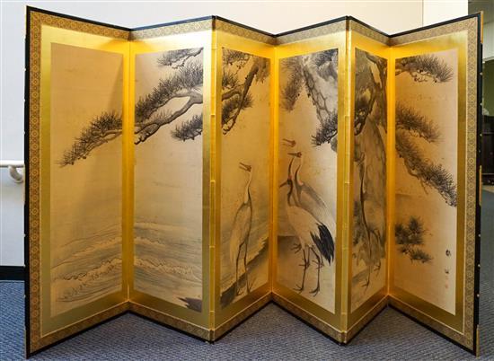 Japanese Six-Fold Paper Floor Screen, Height: 68 in, Width: 150 in