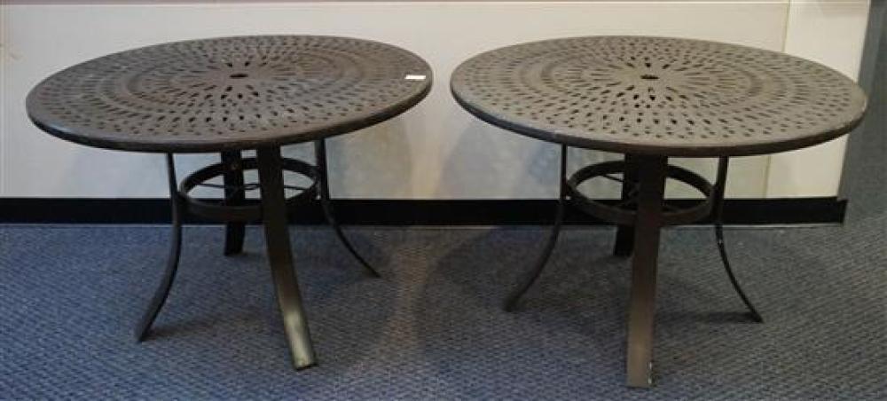 Pair Black Painted Aluminum Round Garden Tables, Diameter: 42 in