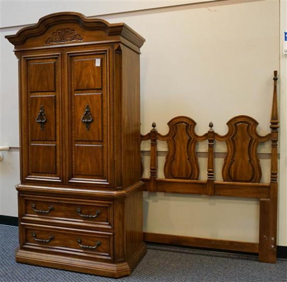 Fruitwood Armoire, Triple Dresser with Mirror and Queen/Double Headboard, Width: of Dresser: 74-1/4 in