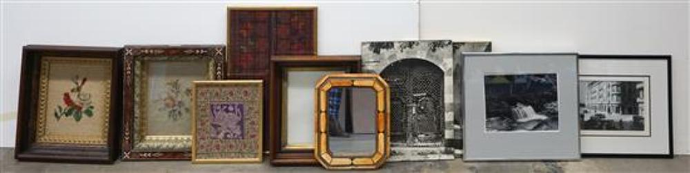 Group with Framed Textiles, Mirror, Photographs and other Artwork