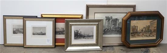 Group with Six Framed Engravings of Roman Ruins and Mediterranean Port Scenes, largest: 17-1/2 x 20 inches