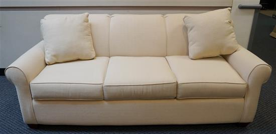 Contemporary Cream Upholstered Sleep Sofa, Width: 80 in