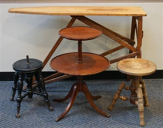 Two Victorian Revolving Seat Stools (one seat missing), Folding Wood Ironing Board and Two-Tier Dumbwaiter