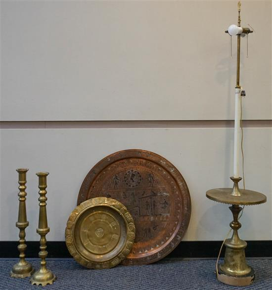 Middle Eastern Brass Table converted to Lamp, Pair Chinese Brass Candlesticks, Egyptian and Polynesian Brass and Copper Trays