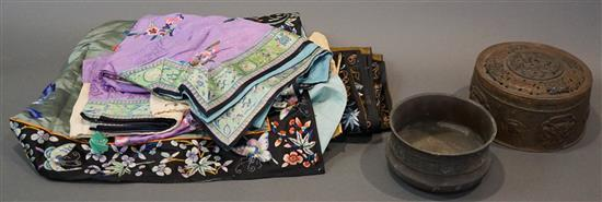 Collection with Chinese Textiles and Two Metal Objects