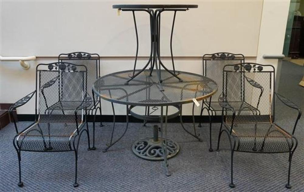 Set with Four Black Painted Wrought Iron Armchairs, Two Tables and Umbrella Stand, Diameter of Largest Table: 48 in