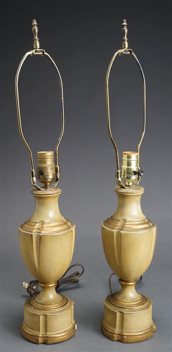 Pair Painted Plaster Urn-Form Lamps, Height overall: 24-3/4 in