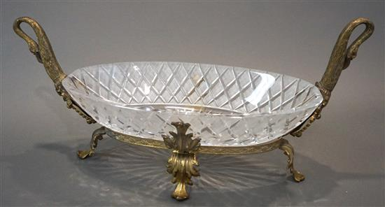 Neoclassical Style Brass and Cut Crystal Centerpiece, Width: 25 in