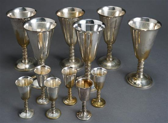 Six Spanish Silver Plate Water Goblets and Six Cordials