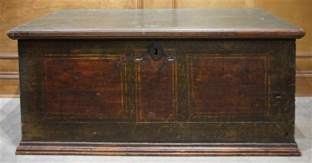 Stained Pine Blanket Chest, 19th Century, Height: 19 in, Width: 42 in, Depth: 21-1/4