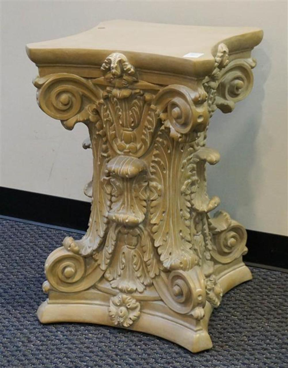 Plaster Column-Form Pedestal Base (small loss to base) and Glass Top Table by Continental Accents, Height: 30 in, Diameter: 60-1/2 in