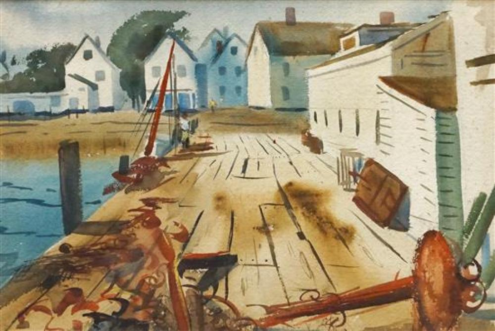 Marston Dean Hodgin (American 2903-2003), Houses by the Water, Watercolor on Paper, Frame: 20 x 26-1/2 in