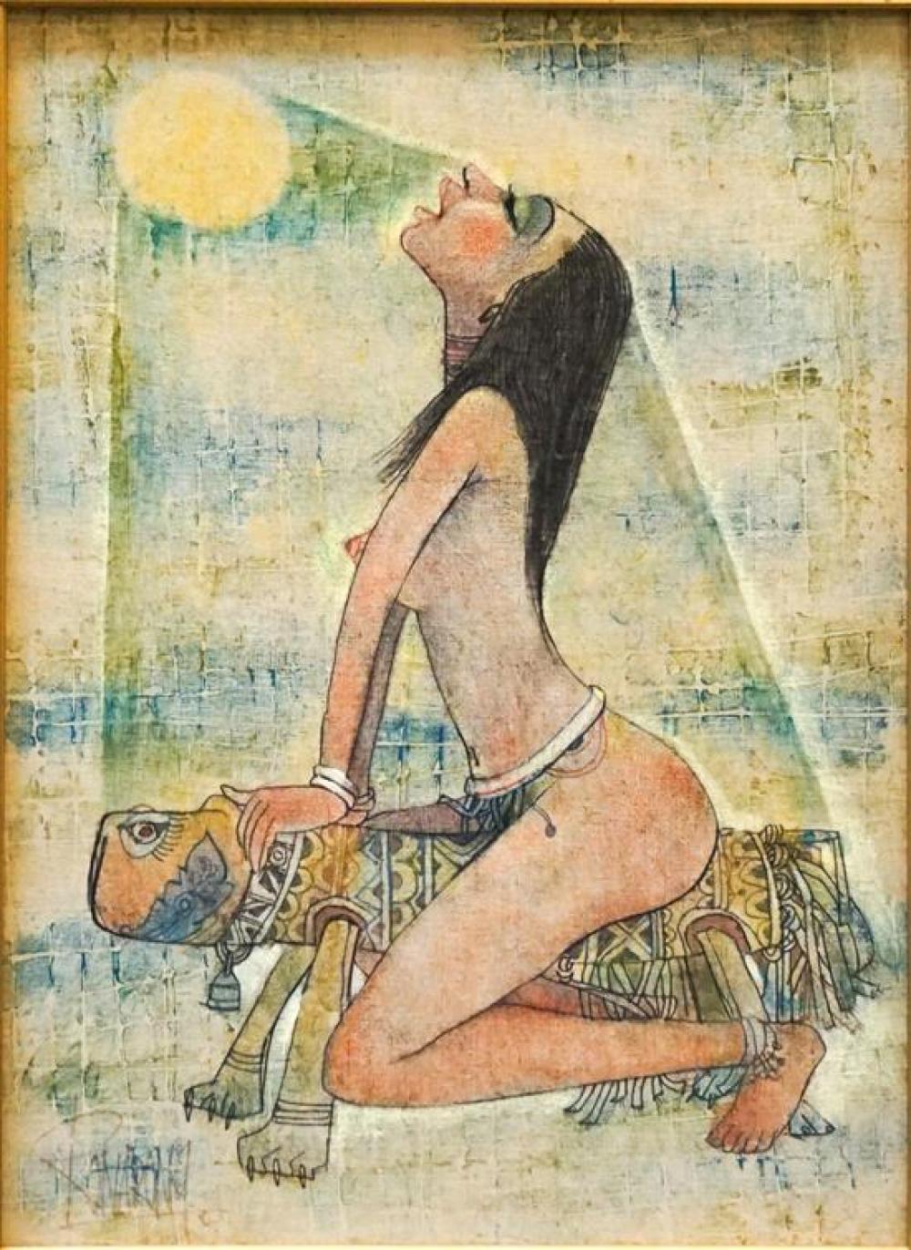 Thanomtup Ronarong (Thai b 1945), Woman in Sun, Oil on Board, Frame: 30 x 23-1/2 in