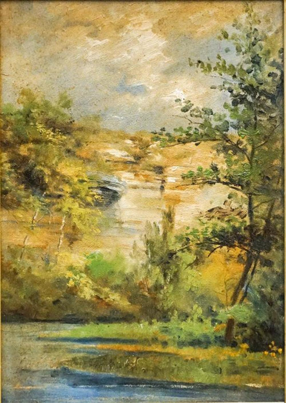 Laura A Gleason (American 1856-1934), California Landscape, Oil on Panel, Frame: 13-1/2 x 10-1/2 in