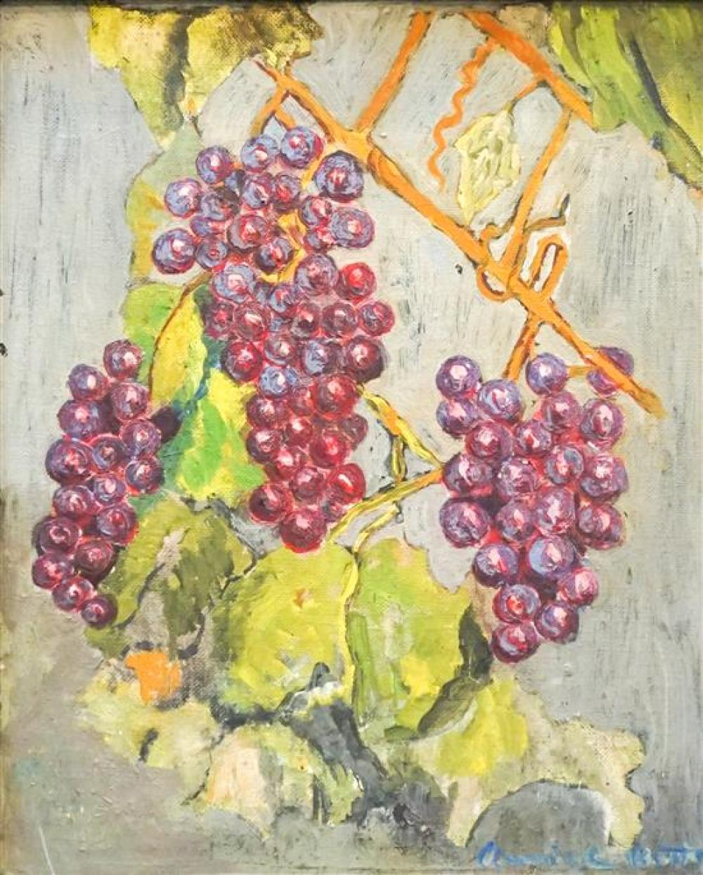 Annie Welan Betts (American 20th Century), Grapes on the Vine, Oil on Panel, Frame: 14-3/4 x 12-3/4 in