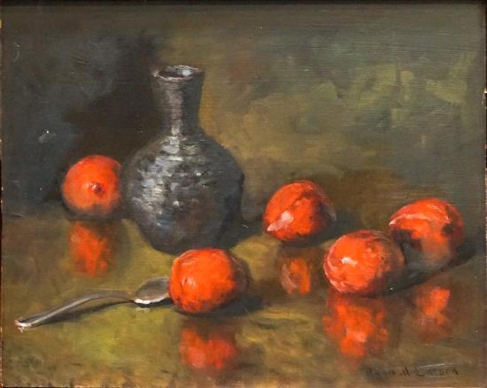 Dean M Larson (American b 1857), Still Life of Jug and Plums, Oil on Canvas, Frame: 13 x 16 in